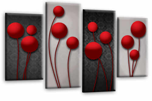 Abstract Floral Canvas Wall Art Picture Grey Red Flower Print